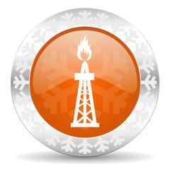 gas orange icon, christmas button, oil sign