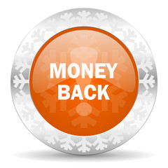 money back orange icon, christmas button
