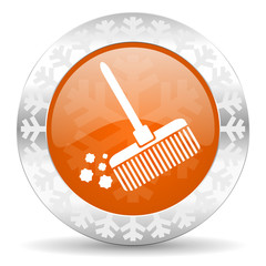 broom orange icon, christmas button, clean sign
