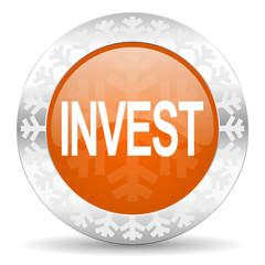 invest orange icon, christmas button