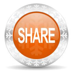 share orange icon, christmas button
