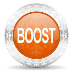 boost orange icon, christmas button