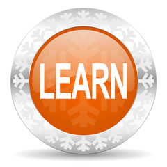 learn orange icon, christmas button