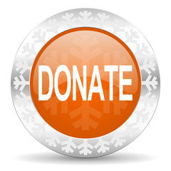 donate orange icon, christmas button