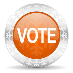 vote orange icon, christmas button