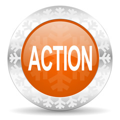 action orange icon, christmas button