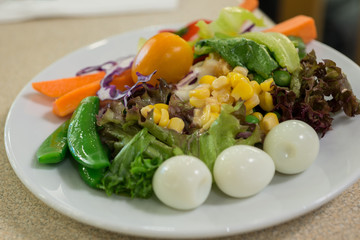 Closeup of vegetable salad on white Dish