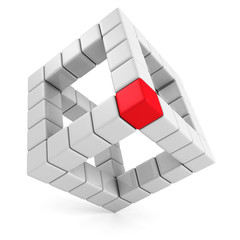 red leader cube of abstract cube structure. leadership concept
