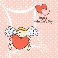 cupid cute card for Valentine's Day