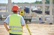 Leinwanddruck Bild - surveyor worker with theodolite
