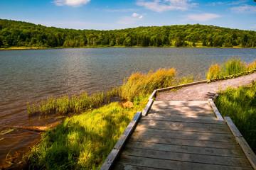 A boardwalk trail encircling Spruce Knob Lake, in Monongahela Na