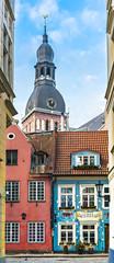 Medieval street in Riga city, Latvia, Europe