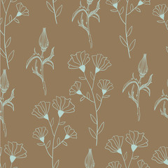 Botanical hand drawn flowers. Seamless pattern