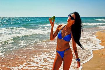Sexy   Girl  In Bikini with watermelon  On The Beach