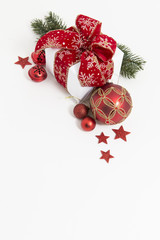 Classic christmas card with decoration of baubles and ribbon