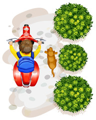 A topview of a boy riding a motorcyle