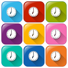Colourful buttons with clocks