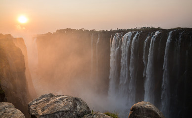 Victoria Falls sunset from Zambia side