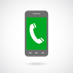 Handset sign in phone Icon Symbol. Flat Design collection.