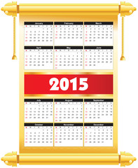 2015 calender in golden plate color template.
