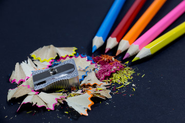 Sharpened Pencils,Metallic Pencil Sharpener and Pencil Shavings