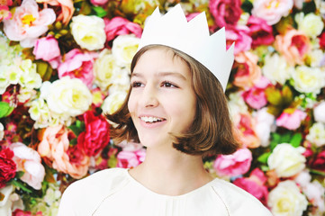 Beauty teen age girl in white crown