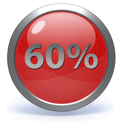 Sixty percent circular icon on white background