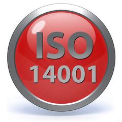 Iso 14001 circular icon on white background