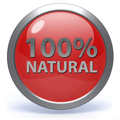 100% natural circular icon on white background