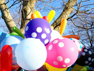 Outdoor winter  party with colorful balloons