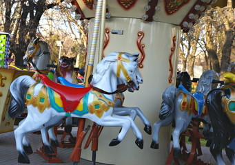 Old  carousel in a winter  holiday park