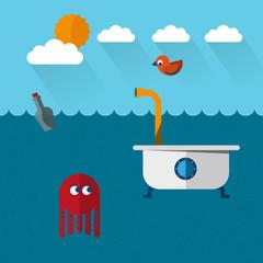 Travelling submarine-bathtoob, octopus and bird