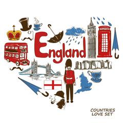 English symbols in heart shape concept