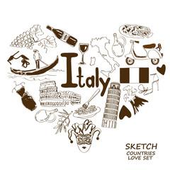 Italian symbols in heart shape concept