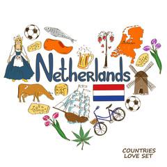 Netherlands symbols in heart shape concept