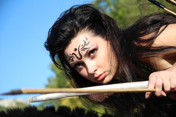 girl-warrior - Amazon armed with bow and arrows