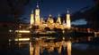 Cathedral and Ebro river in night. Zaragoza, Aragon