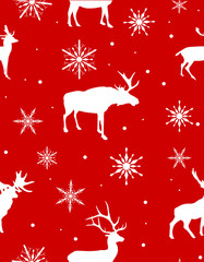 seamless background from white deers and snowflakes