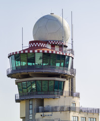 Italy, Tuscany, Florence Airport, flight control tower