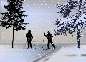two skiers in forest under snowfall