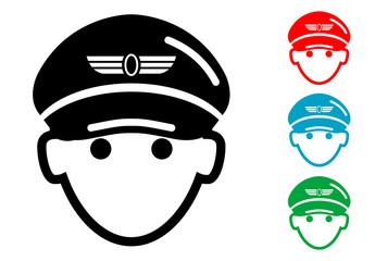 Pictograma icono piloto de avion con varios colores