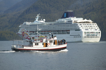 Canadian cruise vessel in Johnstone Strait. Vancouver. Canada