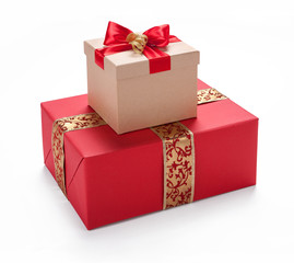 Red giftbox. Merry Christmas & New Year's Eve concept