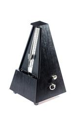 Wooden black metronome on white background