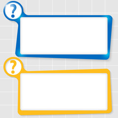 set of two text boxes for text and question mark