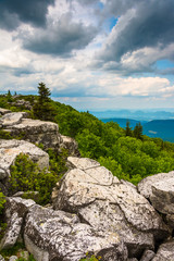 Boulders and eastern view of the Appalachian Mountains from Bear