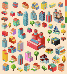 Colorful vector isometric city