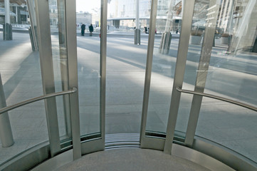 view from inside of a modern steel and glass elevator