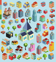 Colorful vector isometric building