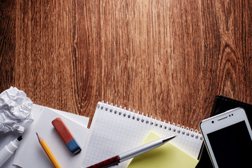 School or Office Supplies on Table with Copy Space